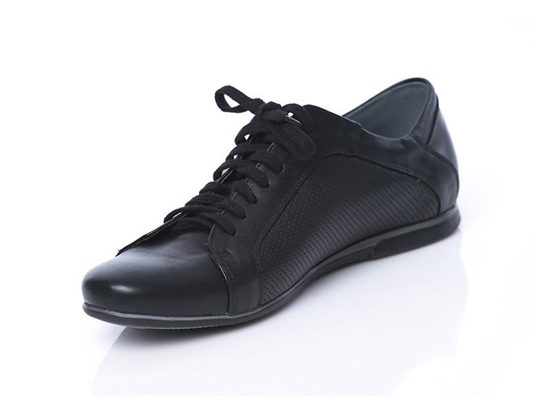 0f947e7284a56 Półbuty męskie skórzane czarne sportowe wiązane SERWIN - Skora24