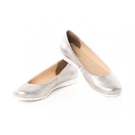 Złote baleriny skórzane biała podeszwa damskie SERWIN