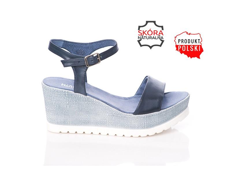 9eb40a6ca7ee5 Niebieskie sandały skórzane na koturnie SERWIN - Skora24