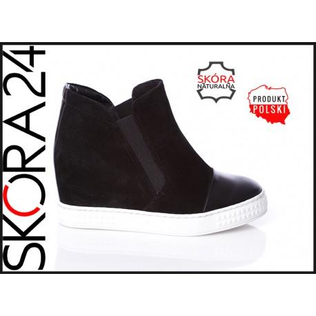 Czarne skórzane botki sneakersy na koturnie z gumą zamszowe LAGARRO