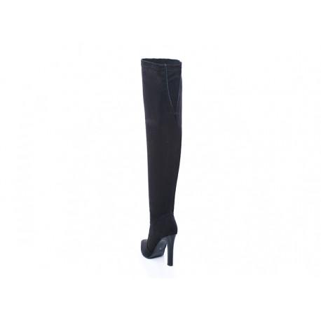 Czarne kozaki na szpilce za kolano z zamkiem PAULA