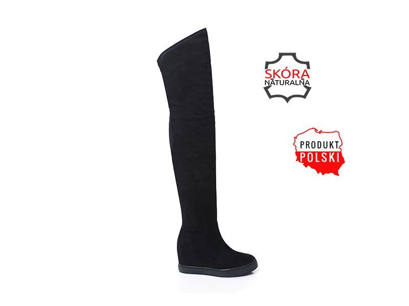 Czarne skórzane kozaki na koturnie za kolano ocieplane sneakersy zamszowe LAGARRO