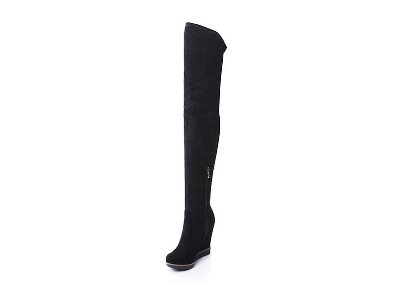 Czarne skórzane kozaki na koturnie za kolano LAGARRO Skora24