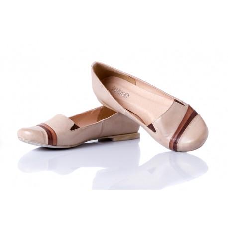 Ecru baleriny skórzane z gumkami damskie SERWIN