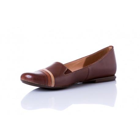 Kakaowe baleriny skórzane z gumkami damskie SERWIN