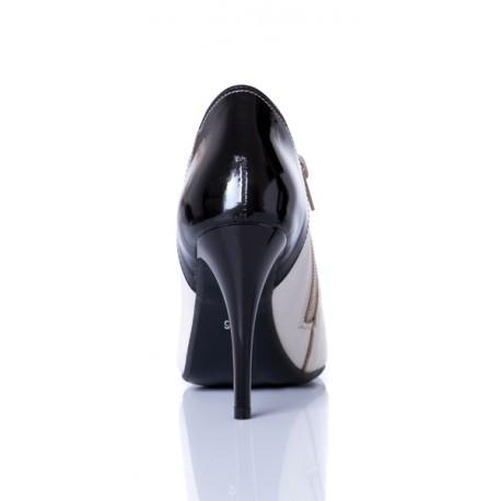 Beżowo-czarne skórzane botki na szpilce z zamkiem DAN-SKÓR