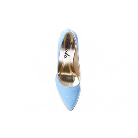 Błękitne lakierowane czółenka na szpilce PAULA