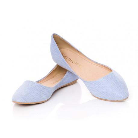 Błękitne zamszowe wycięte baleriny w kropki skórzane w szpic SZYDŁOWSKI