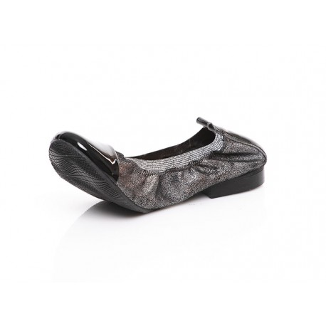 Czarno-srebrne baleriny skórzane z gumką damskie LAGARRO