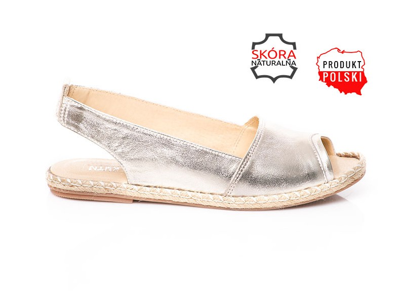 ac7dc67211b2c Złote sandały ze skóry espadryle SERWIN - Skora24