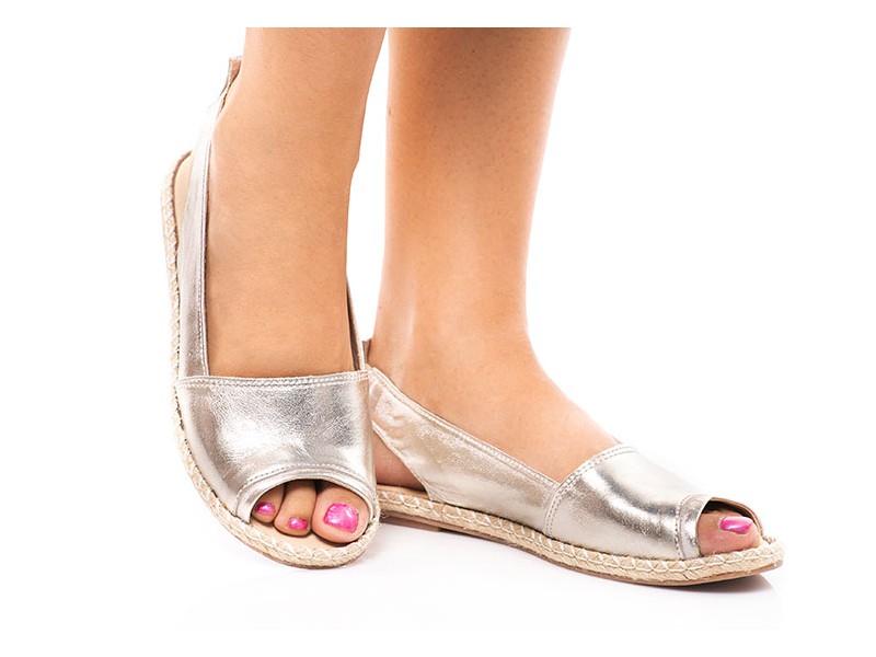 6dee032e0175d Srebrne sandały ze skóry espadryle SERWIN - Skora24