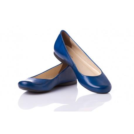 Niebieskie baleriny skórzane klasyczne damskie SERWIN