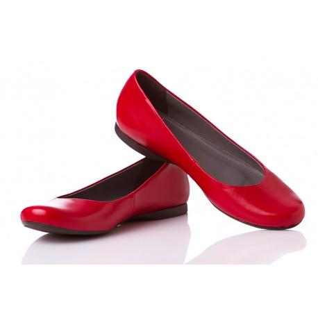 Czerwone baleriny skórzane klasyczne damskie SERWIN