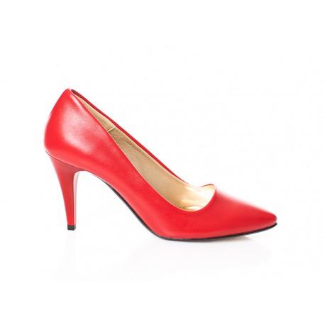 Czerwone czółenka damskie na niskiej szpilce PAULA