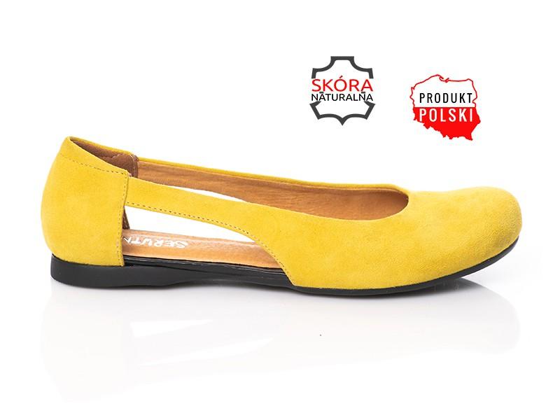 61fd40293a4a6 Żółte zamszowe baleriny skórzane z wycięciem SERWIN - Skora24