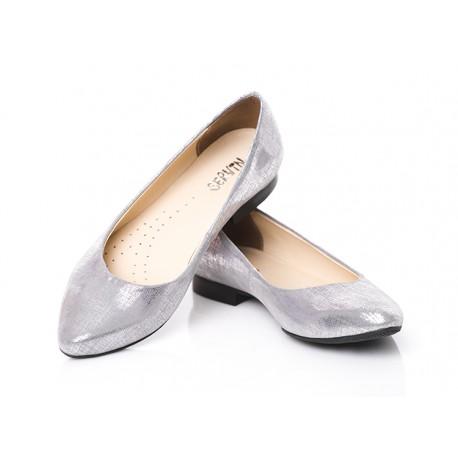 Eleganckie baleriny skórzane w szpic damskie SERWIN