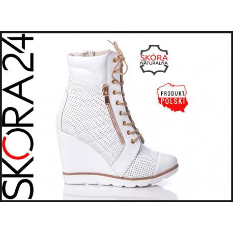 Białe skórzane botki na koturnie z zamkiem sneakersy nieocieplane LAGARRO wyprzedaż