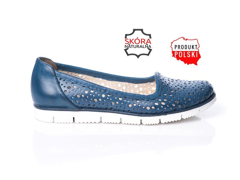 15eb12c3f6e90 Niebieskie półbuty damskie skórzane ażurowe SERWIN - Skora24