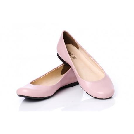 Pudrowe różowe baleriny skórzane klasyczne damskie SERWIN