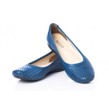 Niebieskie ażurowe baleriny skórzane damskie SERWIN