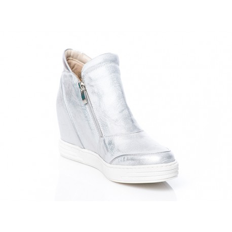 Srebrne skórzane botki sneakersy na koturnie z zamkami LAGARRO
