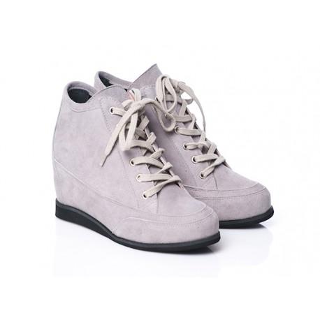 Popielate skórzane botki sneakersy na koturnie sznurowane zamszowe OLEKSY