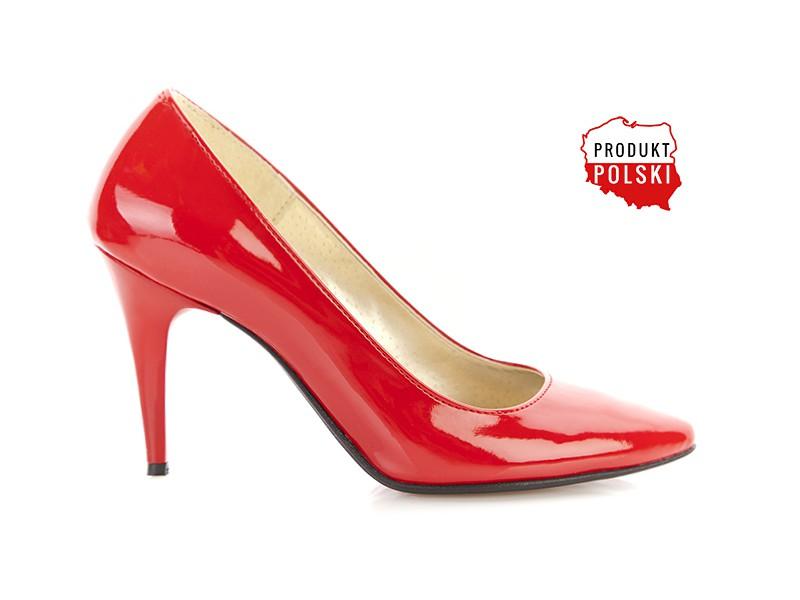61989c0b Czerwone lakierowane czółenka na niskiej szpilce PAULA - Skora24